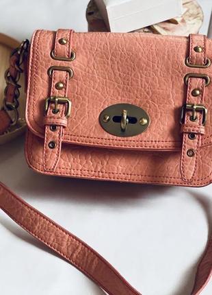 Маленькая вместительная летняя сумочка кораллового цвета, сумка на лето