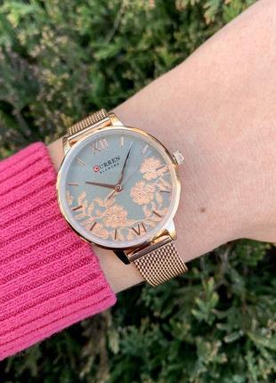 Женские наручные металлические часы curren blanche каррен розовые с цветами