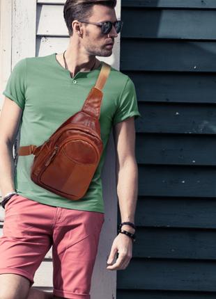 Сумка кожаная, мини-рюкзак