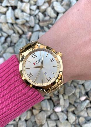 Женские наручные часы curren blanche каррен золотистые с датой на металлическом браслете