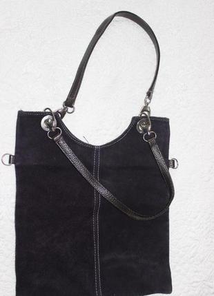 Фиолетовая сумка из натурального замша