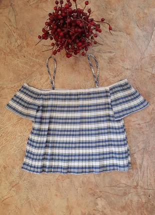 Топ, короткая блуза, плиссе в полоску от missguided