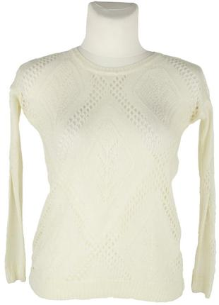 Ажурный вязаный молочный пуловер
