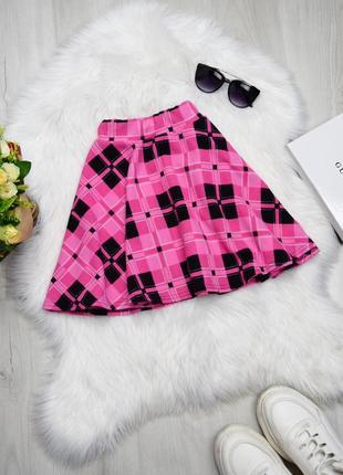 Розовая юбка солнце в клетку