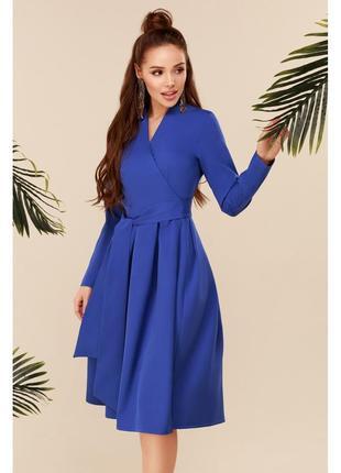 Платье электрик с пышной юбкой демисезонное