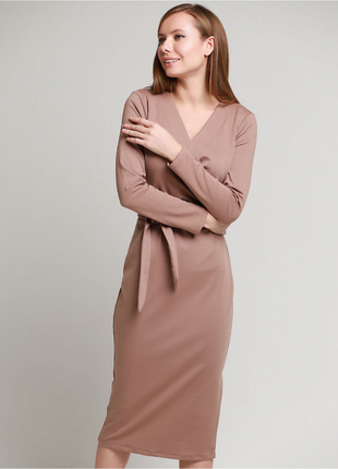 Платье с поясом француз в цвете капучино2 фото