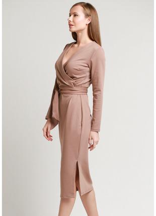 Платье с поясом француз в цвете капучино3 фото