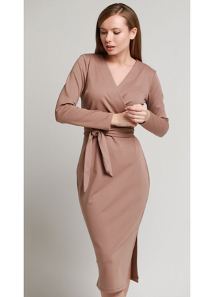 Платье с поясом француз в цвете капучино4 фото