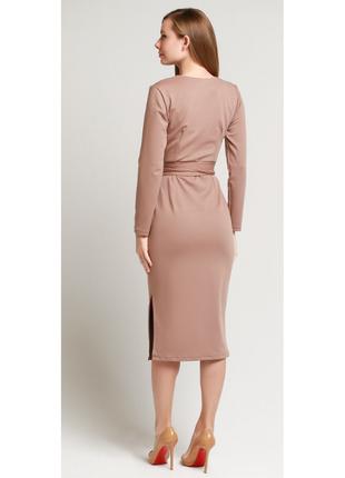 Платье с поясом француз в цвете капучино5 фото