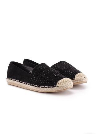 Эспадрильи плетённая подошва туфли балетки с камнями стразами