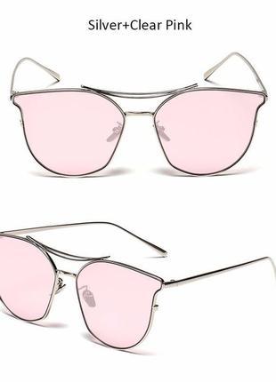 Солнцезащитные очки с усиленной оправой метал и розовой дымчатой линзой антирефлекс1 фото