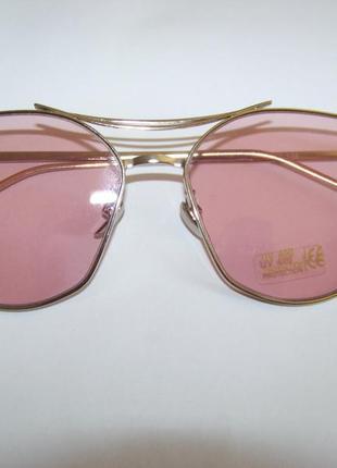 Солнцезащитные очки с усиленной оправой метал и розовой дымчатой линзой антирефлекс4 фото