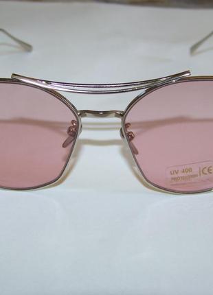 Солнцезащитные очки с усиленной оправой метал и розовой дымчатой линзой антирефлекс5 фото