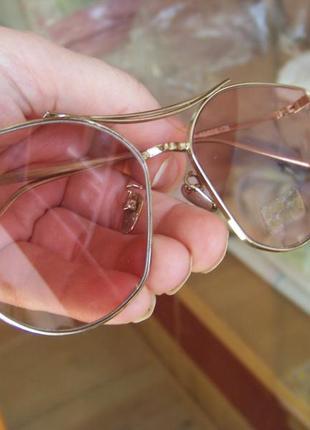 Солнцезащитные очки с усиленной оправой метал и розовой дымчатой линзой антирефлекс6 фото