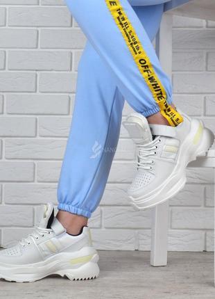 Кроссовки женские кожаные maison margiela style на платформе белые