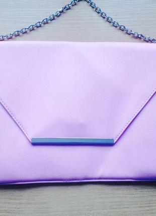 Розовый клатч конверт на магните с цепочкой