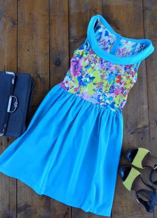 Красивенькое, яркое, бирюзовое платье с воротом
