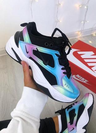 Кожаные женские кроссовки nike m2k разноцветные (весна-лето-осень)😍