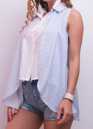 Стильная рубашка -блузка в полоску с удлиненной спинкой имитация двойки