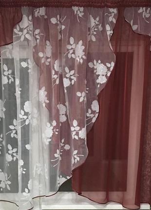 Бордовая тюль на кухню