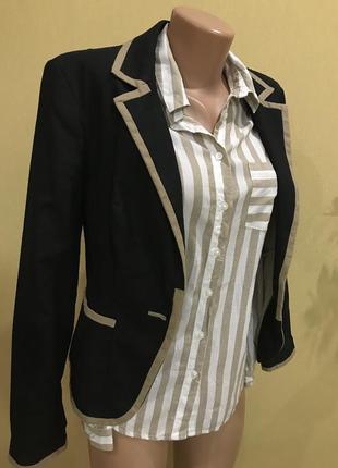 Шикарный винтажный льняной пиджак жакет