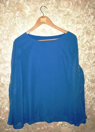 Шифоновая блуза с бисером на рукавах размер 18-20