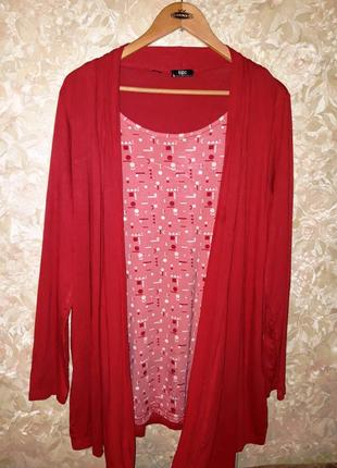 Легкая имитация блузки кардиган и блуза размер 52-54