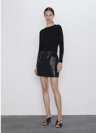 💝💝💝 женская короткая чёрная юбка эко кожа жіноча чорна спідниця бренд zara