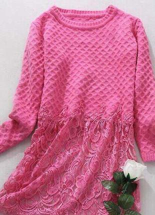 Длинные свитерки-туники с кружевом