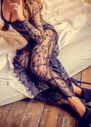 Кружевное платье парео , пляжное платье + накидка кружевная