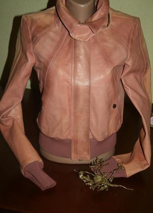 Акция: дизайнерская розовая-меланж куртка-косуха с крутой фурнитурой