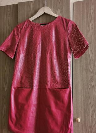Красное платье эко кожа перфорация яркое