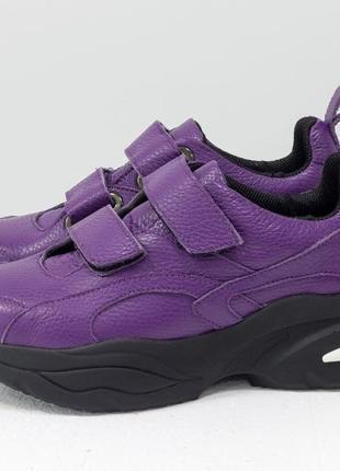 Кожаные эксклюзивные фиолетовые кроссовки на красивой подошве