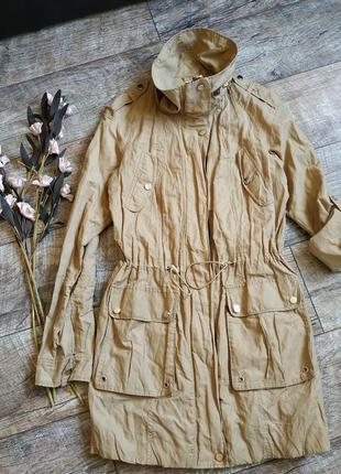 Куртка-парка ветровка от reserved/цвет кемел/метализированая ткань-м