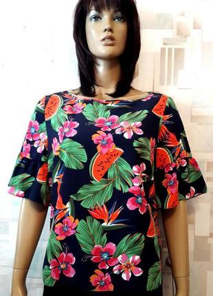Красивая яркая блуза в цветы и арбузики  от papaya