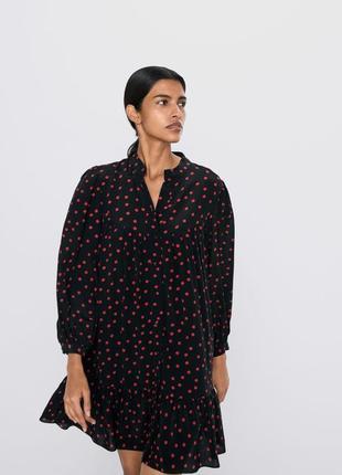 Zara свободное платье рубашка с воланом черное в красный горох