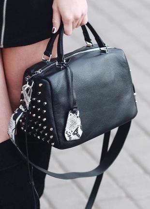 Женская кожаная сумка через на плечо polina & eiterou жіноча шкіряна чорна