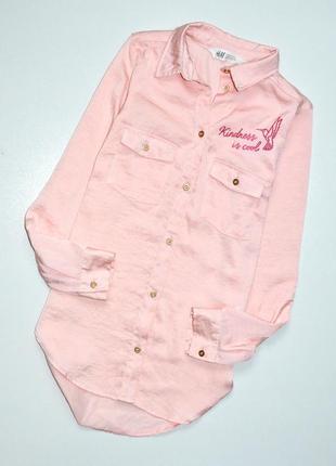 H&m.крутая блуза с золотой фурнитурой розово персикового цвета. 8-9 лет.