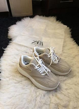 Кроссовки платформа высокие тренд zara кожаные замшевые когда замша