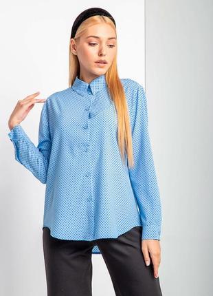 Стильная рубашка в горошек с длинным рукавом и асимметричным низом