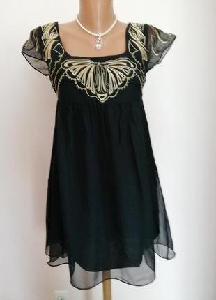 Шикарное шелковое платье с вышивкой/xs- s/ brend asos