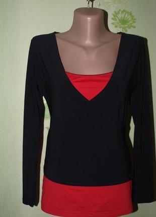 Шикарная кофточка блуза на запах-стрэйч- xs-s-в идеале