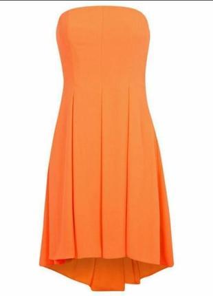 Яркое маркерно-оранжевое платье-бандо miss selfridge