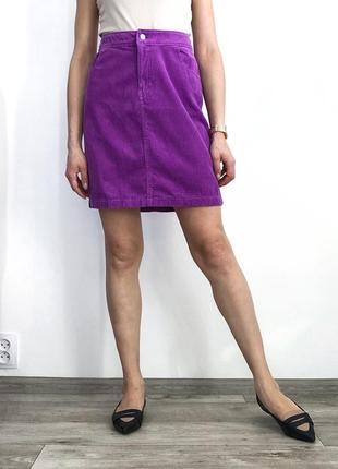 Вельветовая сиреневая юбка мини9 фото