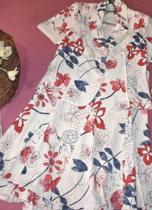 Нарядный стрейчевый льняной летний костюм  (жакет + юбка) с цветочным принтом