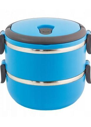 Термос для пищи, ланч бокс-контейнер на 2 отделения (1,4л) из нержавейки4 фото