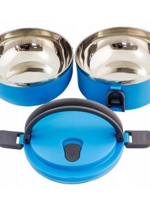 Термос для пищи, ланч бокс-контейнер на 2 отделения (1,4л) из нержавейки3 фото