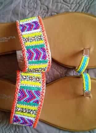 Кожаные сандали в этно стиле с бисером и стразами tervolina, италия