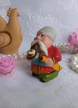 Тарас бульба козак в папахе курильщик гипсовая статуэтка фигурка в эмали миниатюра ссср советская
