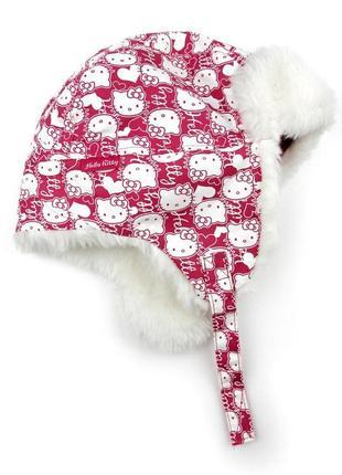 Зимняя теплая шапка ушанка hello kitty 1.5-4года